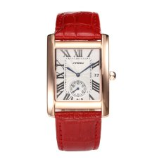 SINOBI 8181 Fashion Roman Style Rectangle Simple Dial Function Quartz Watch For Male Female Genuine Leather Auto Date