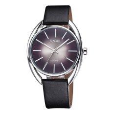 SINOBI Brand Ultra-Thin Black Leather Strap Watch (Black)
