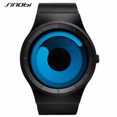 SINOBI Casual Fashion Watches for Men Stainless Steel Mesh Strap Creative No Seconds Design Geneva Quartz Clock 9659