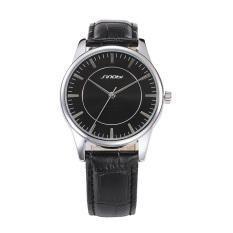 SINOBI Ladies Sport Quartz-watch Black Leather Silver Case Women Fashion Wristwatches