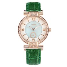 Sinobi Lady Casual Crystal Gold Case Leather Strap Quartz Watch S8192 (Green)