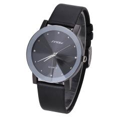 SINOBI Women Causal Crystal Quartz Watches Leather Strap Watch (Black) (Intl)