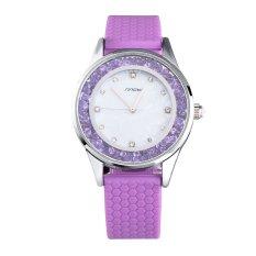 SINOBI Women Fashion Crystal Quartz-watch Silver Case Purple Watchband Female Watches- Intl