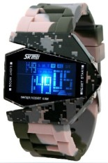 Skmei 0817 Unisex Airplane Shaped 5ATM Water Resistant Digital Sports Watch - Army