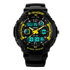 SKMEI 0931 Waterproof Unisex LED Digital Analog Dual Time Display Sports Wrist Watch With Date / Week / Alarm / Stopwatch / Backlight / Rubber Band (Yellow) (Intl)