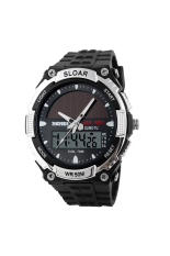 SKMEI 104.50m Waterproof Solar Double Movement Double Time ShowsSport Watch Black + Silver