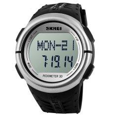 SKMEI 1058 Heart Rate Monitor Pedometer Sport Watch (Silver)