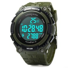 Skmei 1112 Multifunctional 3D Pedometer Male Wristwatch With PU Band (Green) - Intl