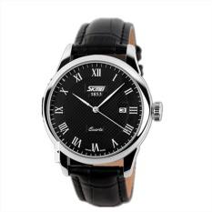 SKMEI 9058B Mens Fashion Leather Strap Waterproof Calendar Quartz Watch Black (Intl)