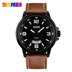 SKMEI 9115 Men's 50 Meters Waterproof Calendar Quartz Watch - Coffee - Intl