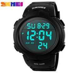 SKMEI Brand New 2016 Sports Watches Men LED Electronic Digital Watch 50M Swim Outdoor Casual Military Army Wristwatch (Black)