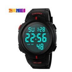 SKMEI Brand New 2016 Sports Watches Men LED Electronic Digital Watch 50M Swim Outdoor Casual Military Army Wristwatch (Red)