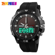 SKMEI Brand Solar Power Energy Sport Watch Men Dual Time Zone Waterproof Digital Quartz Solar Watches For Men (Black)