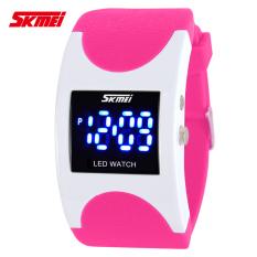 SKMEI Brand Women LED Digital Watch Sports Watches Fashion Arced Dial 30m Waterproof Electronic Student Dress Wristwatches (Pink)