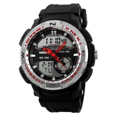 SKMEI Casio Men Sport LED Watch Water Resistant 50m - AD1109 - Perak / Hitam