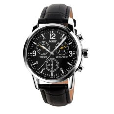 SKMEI Casual Men Leather Strap Watch Water Resistant 30m - 9070CL - Hitam