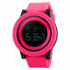 SKMEI Casual Trendi LED Display Watch DG1142 Water Resistant Anti Air WR 50m Jam Tangan Unisex Tali Strap Rubber Karet Wristwatch Feminim Elegan Casual Design - Pink