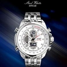 SKMEI Elgrand Putih - Jam Tangan Pria -  Rantai Stainless Steel -  0933 Elegant Putih + Free Box Jam Tangan Flash