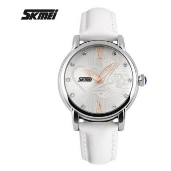 SKMEI Fashion Casual Watch Women Waterproof Quartz Analog High Quality Leather Wrist Watches Rose Flower Women's Watches (White)