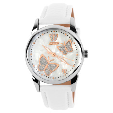 Skmei Female Fashion Waterproof Leather Strap Wrist Watch - White 9079