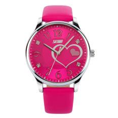Skmei Female Waterproof Leather Strap Wrist Watch - Rose Red 9085