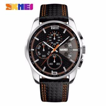 SKMEI Jam Tangan Analog Stopwatch Day Date 9106 Garansi 1 Bulan - Hitam Orange