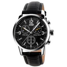 SKMEI Jam Tangan Pria Casual Leather Strap Water Resistant 30M 9070 - Black Black