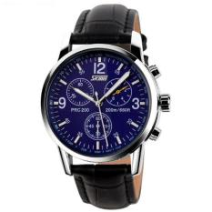 SKMEI Jam Tangan Pria Casual Leather Strap Water Resistant 30M 9070 - Black Blue