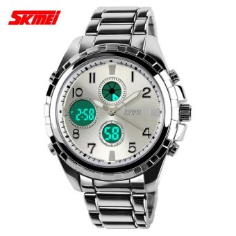 SKMEI Jam Tangan Pria Jam Tangan Analog Digital Casio Men Sport LED Watch Water Resistant 30m AD1021 - Silver