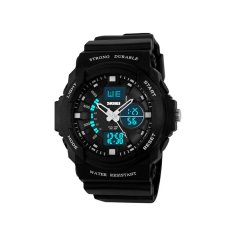 SKMEI Luxury Brand Men Sports Watches Digital LED Quartz Wristwatches Rubber Strap Military Watch For Children Boys Male Clock (Silver)