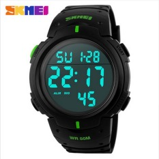 Skmei Luxury Brand Mens Sports Watches Dive 50m Digital LED Military Watch Men Fashion Casual Electronics Wristwatches Hot Clock (Green) - Intl