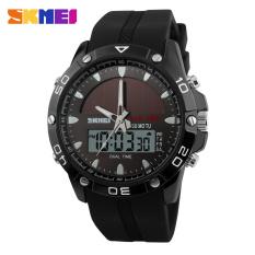 SKMEI Men Solar Dual Display Wristwatches Fashion Digital Sport Watch Chronograph Alarm Waterproof Quartz Watches 1064-Blac - Intl