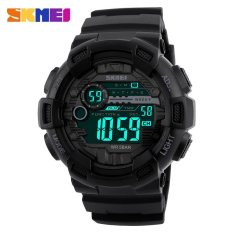 SKMEI Men Sports Watches Back Light LED Digital Watch 50M Waterproof Chronograph Shock Double Time Wristwatches 1243 - Black - intl