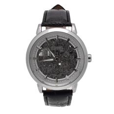 Yika Men's Women Retro Bronze Steampunk Skeleton Automatic Mechanical Leather Sport Watch (Silver) (Intl)