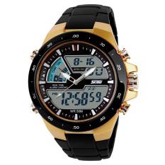 Yika Yika Men Dual Display Waterproof Multi-function LED Sports Watch (Gold) (Intl)