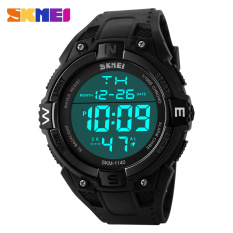 SKMEI Outdoor Sports Watches Men LED Digital Watch Multifunction Men's Wristwatches Fashion Big Dial Black (Black)