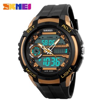 SKMEI Watches Dual Display Analog Digital Watch LED Electronic Quartz 50M Waterproof Swimming Men's Sports Wristwatch (Gold)