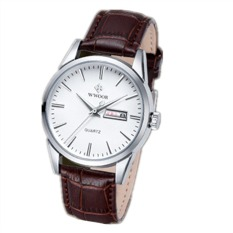 Skmei Wr8801E Mens Fashion Leather Strap Waterproof Quartz Watch Brown (Intl)