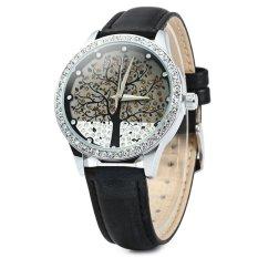 SKONE 5082 Women Quartz Imitation Diamond Wrist Watch With Tree Design Dial PU Strap (Black)