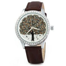 SKONE 5082 Women Quartz Imitation Diamond Wrist Watch with Tree Design Dial PU Strap-Brown (Intl)