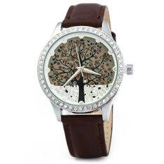 SKONE 5082 Women Quartz Imitation Diamond Wrist Watch with Tree Design Dial PU Strap-Brown (Intl)
