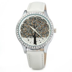 SKONE 5082 Women Quartz Imitation Diamond Wrist Watch with Tree Design Dial PU Strap-White