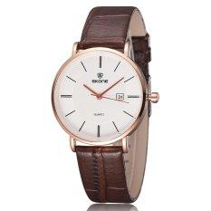 SKONE Brand Fashion Lover Watches Leather Quartz Watch Fashion Luxury Women Men Wristwatch- Coffee (Female)