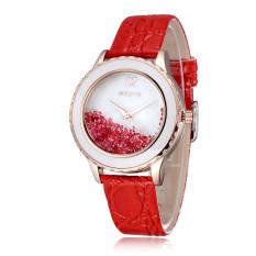 Skone Fashion Women Luxury Brand Ladies Dress Watches Luminous Quartz Watch Bracelet Wristwatches Red