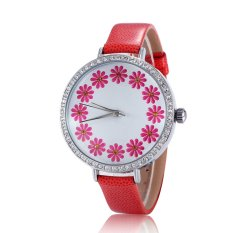 SKONE Hot Selling Leather Geneva Rose Flower Watch Luxury Brand Solid Analog Rhinestone Watch Women-Pink