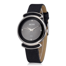 Skone Lady Rhinestone Candy Design Waterproof PU Leather Band Women Dress Watches Black