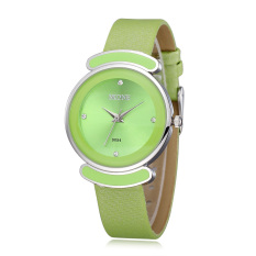 Skone Lady Rhinestone Candy Design Waterproof PU Leather Band Women Dress Watches Green