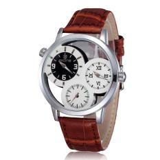 Skone Men Big Number Three-little-dial Watch Skeleton Design Leather Band Quartz Delicate Watch Brown (Intl)