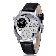 Skone Men Big Number Three-little-dial Watch Skeleton Design Leather Band Quartz Delicate Watch White