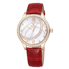 Skone Rome Style Rhinestone Rose Gold Case PU Leather Straps Watch Women Luxury Brand Fashion Casual Watches Relogio Feminino?Red